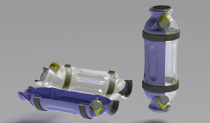 Hospital use pneumatic tube carrier assembly design rendering.